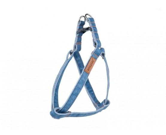 Szelki dl psa Denim regulowane 30-55 cm x 1,5 cm M dla średnich ras niebieskie Amiplay