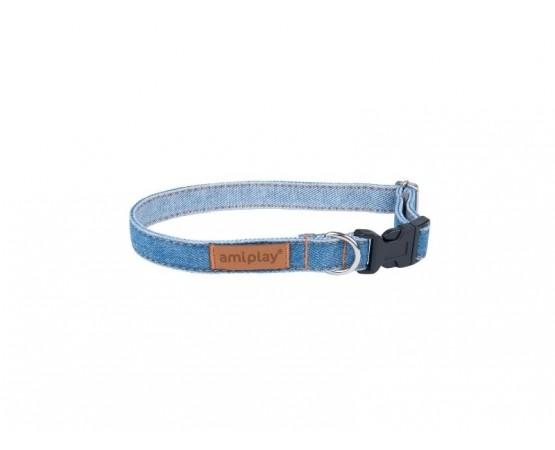 Obroża dla psa Denim regulowana 25-40 cm X 1,5 cm M niebieska Amiplay