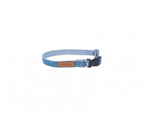 Obroża dla psa Denim regulowana 20-35 cm x 1cm S niebieska Amiplay