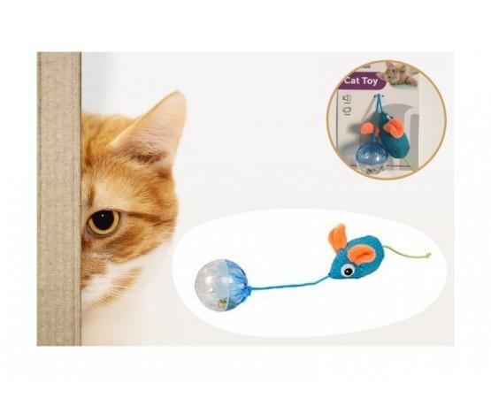 Zabawka dla kota szeleszcząca mysz z grzechocącą kulką - Flamingo Rio