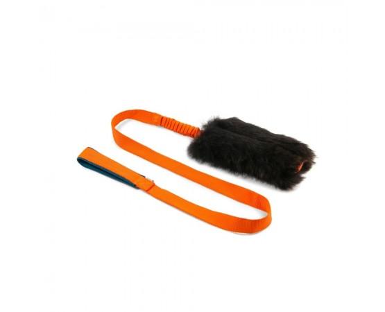 Szarpak dla psa z owczego futra z długim amortyzatorem – rozmiar M