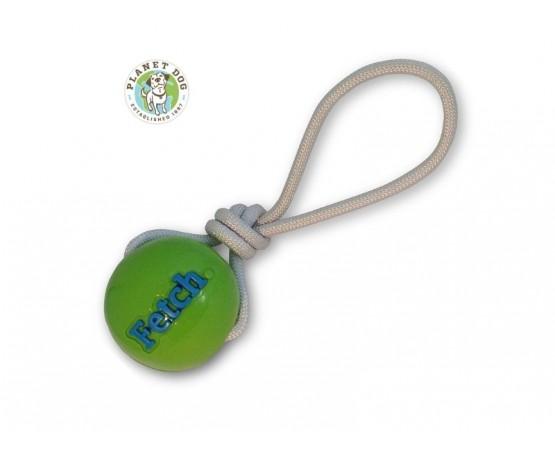 Wytrzymała piłka ze sznurem dla psa zielona - Planet Dog Fetch Ball