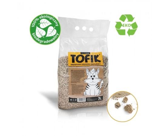 Eko drewniany żwirek kruszon zbrylający dla kota – Tofik 7 litrów