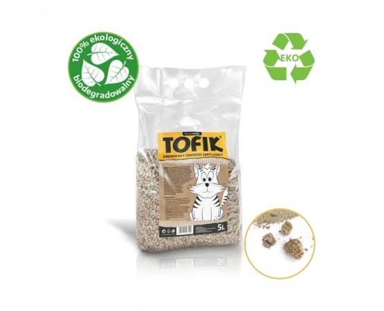 Eko drewniany żwirek kruszon zbrylający dla kota – Tofik 5 litrów