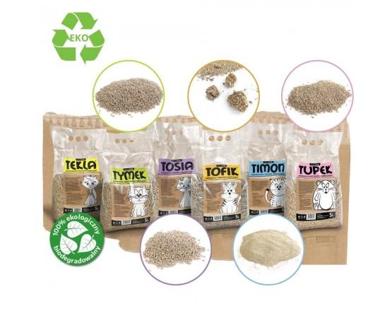 Eko drewniany mini żwirek zbrylający dla kotów – Tymek 7 litrów