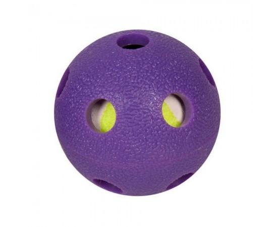 Piłka dla psa 2 w 1 z kauczuku TPR + piłka tenisowa 6 cm - Flamingo