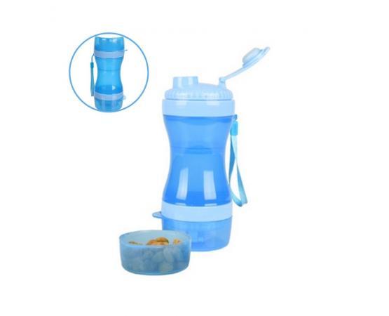 Butelka dla psa bidon na wodę i karmę z miseczkami Flamingo