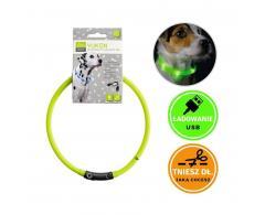 Obroża świecąca dla psa - silikonowa, LED, USB, limonkowa - Hunter Yukon