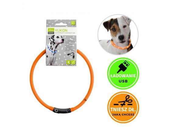 Obroża świecąca dla psa - silikonowa, LED, USB, pomarańczowa - Hunter Yukon