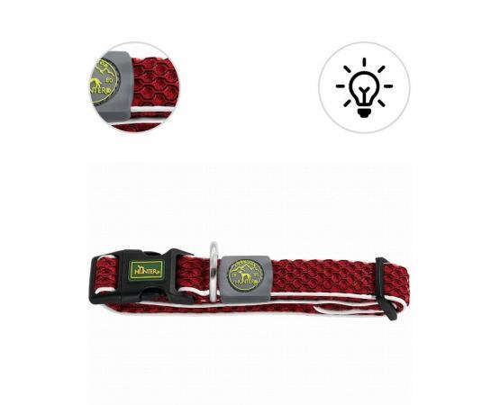 Obroża dla psa M 33 – 50 cm / 2,5 cm czerwona z odblaskowa taśmą - Hunter Hilo Vario Basic