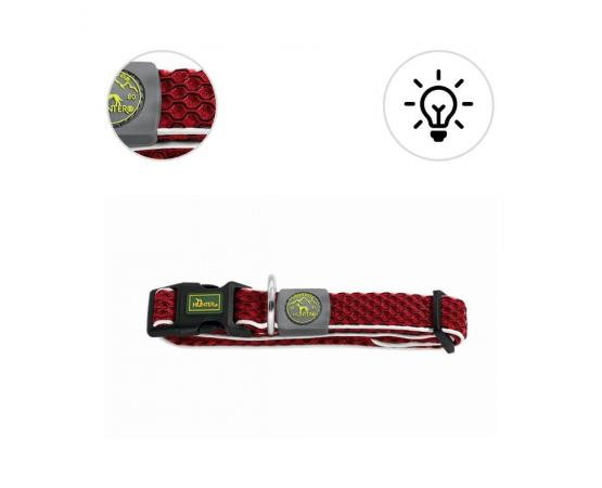 Obroża dla psa S 30 – 43 cm / 2,5 cm  czerwona z odblaskową taśmą - Hunter Hilo Vario Basic
