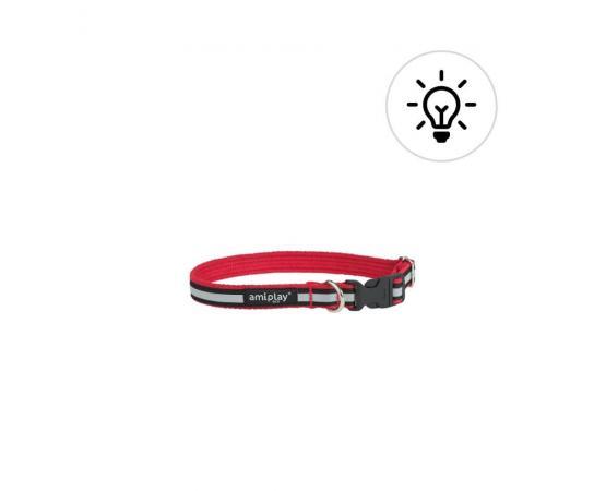 Obroża odblaskowa dla psa 28-40cm x 1,5 cm S czerwona - Amiplay Cotton Shine
