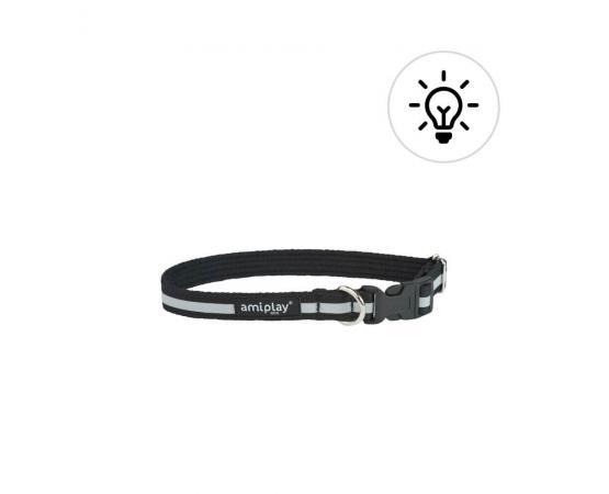 Obroża odblaskowa dla psa 35-50 cm x 2 cm M czarna - Amiplay Eco Cotton Shine
