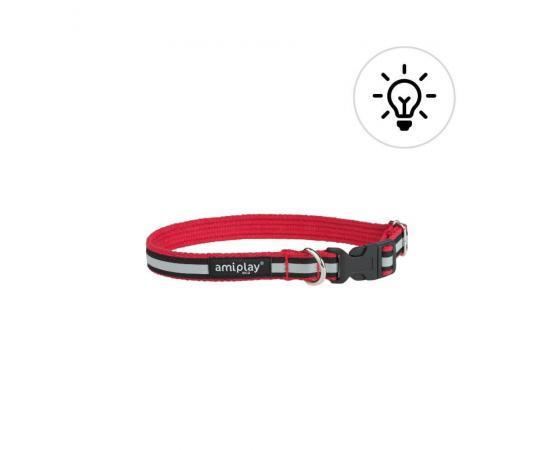 Obroża odblaskowa dla psa 35-50 cm x 2 cm M czerwona - Amiplay Eco Cotton Shine