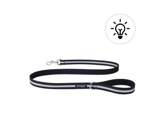 Smycz odblaskowa dla psa 140 cm x 1,5 cm S czarna - Amiplay Eco Cotton Shine