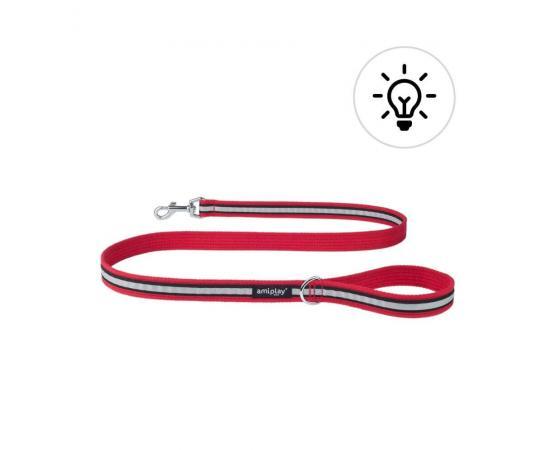 Smycz odblaskowa dla psa 140 cm X 1,5 cm S czerwona - Amiplay Eco Cotton Shine