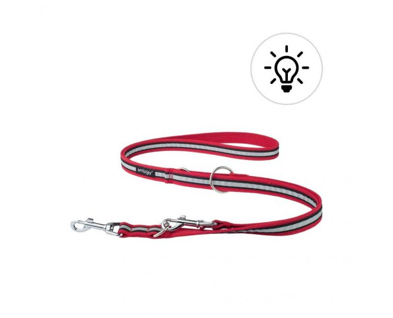 Smycz odblaskowa dla psa przepinana 6in1 M 100-200 cm x 2cm czerwona - Amiplay Eco Cotton Shine