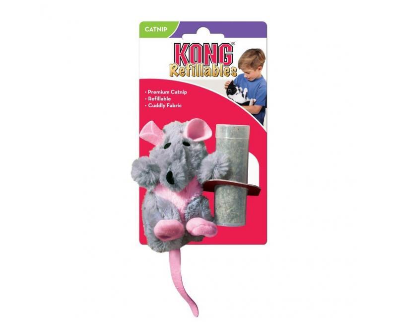 Zabawka dla kota SZCZUR z kocimiętką 10 cm - KONG Refillable Rat