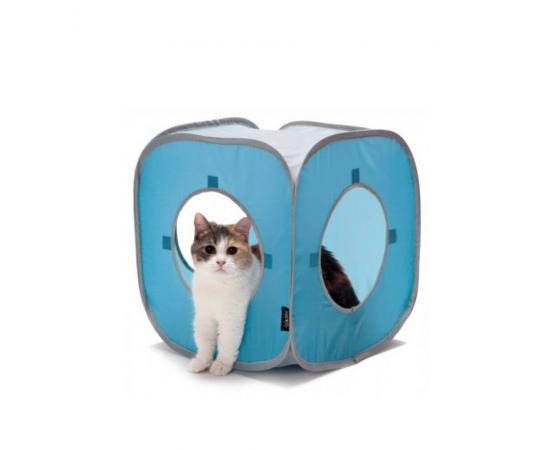 Składany domek dla kota 38 cm niebieski - Pet Supplies