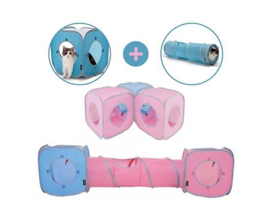 Składany tunel dla kota 91 cm niebieski - Pet Supplies